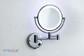 Bath boutiqueu0027s Shaving / Makeup Mirror Wall Mount 3x Magnify with LED LIght  8 Inch Dia