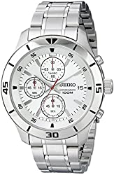 Seiko Chronograph Silver Dial Stainless Steel Mens Watch SKS397