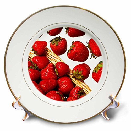 3dRose cp_1211_1 Strawberries Porcelain Plate, 8-Inch