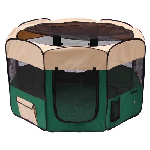 Pet Playpen 2 Door Exercise Kennel Soft Tent Puppy Dog Crate - 3 Sizes And 4 Colors! (Green, Large) front-1037971