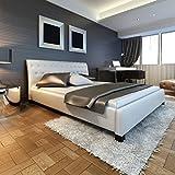 vidaXL Weißes Luxus Kunstlederbett mit Erhöhung und Memory Foam Matratze 180 x 200 cm