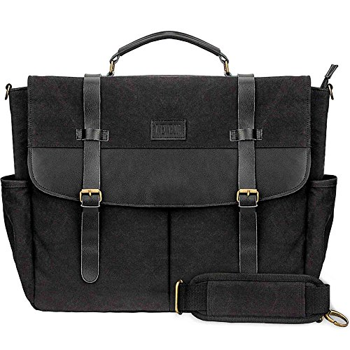 Large Messenger Bags for Laptops-Canvas Men Computer Briefcase Satchel Business Shoulder Bag-Bonus EBook (Construction Drawings Carrier compare prices)