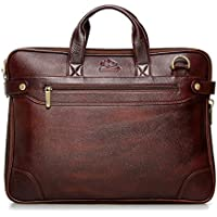 The Clownfish 14 inch Dual Tone Leather Laptop and Tablet Bag - Macbook Pro, Macbook Air Laptop Bag (Maroon Black)