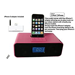 Ottavo OT3040PS Docking Station for up to iPhone 5, iPod & iPod Touch with Alarm, Radio, Clock and Remote Control (Pink Color)