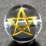スター|水晶|金彫り|五芒星|10mm|【彫刻 一粒売りビーズ】|天然石|パワーストーン|