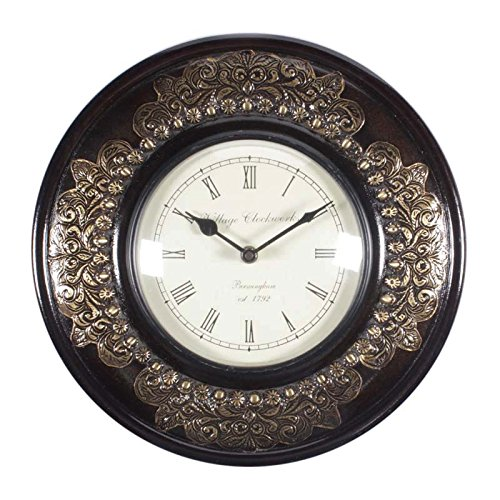 home and bazaar traditional rajasthani wooden wall clock