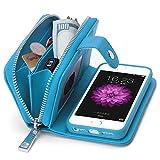 【BRG】財布 + iphone ケース 合一になった!5/5s 用 レーザ アイフォン ケース カバー 分離可能手帳型、高機能財布型、ストラップ付き( iPhone5/5s ブルー )【18ヶ月間保証付き】