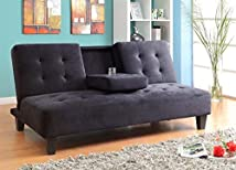 Milton Greens Stars 7501BK Madrid Futon Sofa Bed with Cup Holder Black