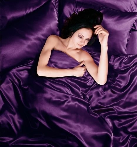 Satin 6 Pcs Silky Sexy Bedding Set Queen / King Duvet Cover Fitted Sheet & 4x Pillowcases 8 Colors (Queen, Purple) (Purple Satin Sheets compare prices)