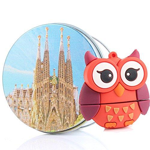 """Anvor (TM)/8 g 16 g 32 g 64G USB Flash Drive a forma di divertente Red Parrot Bird in Silicone, motivo """"Fun-Chiavetta USB con portachiavi, tema: animali rosso Sagrada Familia 16G"""