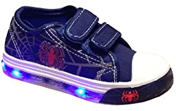 Kid\'s Lighted Casual Sneakers Boy\'s & Girl\'s Athletic Tennis Shoes (5 Toddler, Navy *Spider Lights)