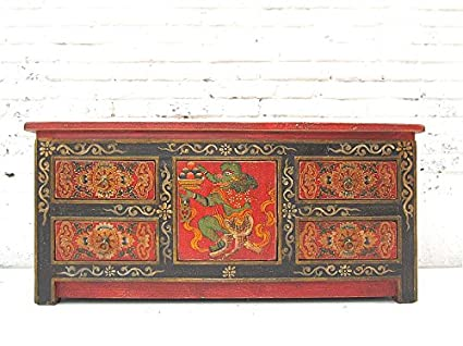 CA 1940 China Small Sideboard Chest of Drawers Pine Painted in Luxury Traditional Park filigree motif