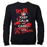 Batch1 Girls Keep Calm And Carry On Run Zombies Halloween Childrens Sweatshirt Jumper