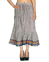Fashionable Casual Skirt Cotton White Floral Printed For Women By Rajrang