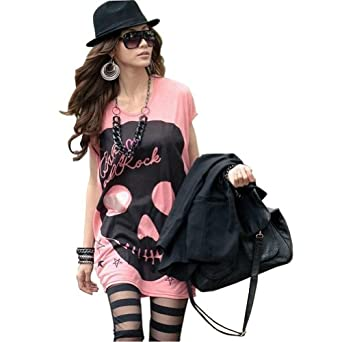 Skull Head Pattern T-shirts Blouse Tops Tee White/pink Colour for Choice (Pink)