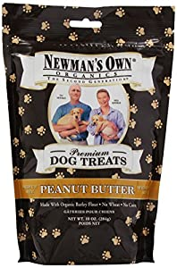 Newman's Own Organics Premium Dog Treats, Peanut Butter, Medium Size, 10-Ounce Bags (Pack of 6)