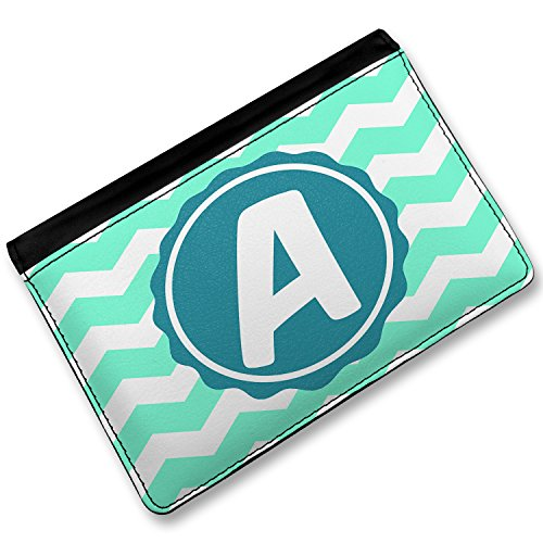Rfid Passport Holder Monogram A Mint Green White Chevron, Cover Case / Wallet - Neonblond