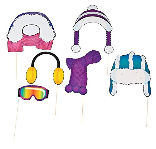 Winter Photo Booth Costume Stick Props - 6 pcs