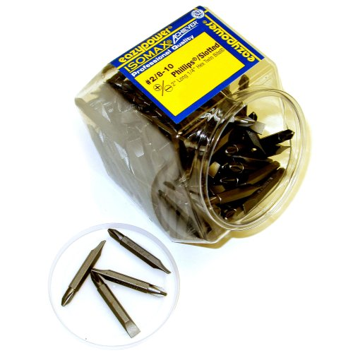 100 Pack Eazypower 093285#2 Square Recess Two-Inch Double Ended Tips