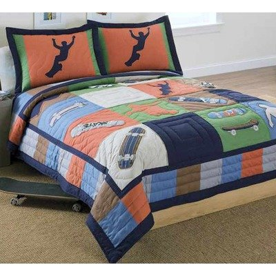 Navy And Orange Bedding 3357 front