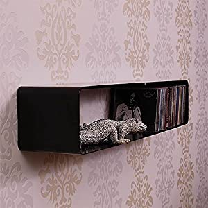 The Best  70s XXL RETRO DESIGN LOUNGE CD SHELF CUBE rack wall storage from XTRADEFACTORY black