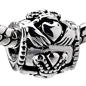 Sterling Silver Claddagh Beads Fits Pandora Charms Bracelet