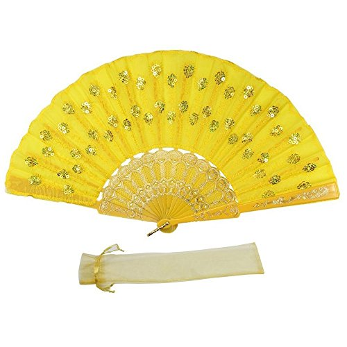 Newstarfactory Full Color Collection Embroidery Sequins Plastic Cloth Folding Fan (Yellow)