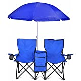 Double Folding Chair With Removable Umbrella Table Cooler Bag Fold Up Steel Construction Dual Seat for Patio Beach Lawn Picnic Fishing Camping Garden and Carrying Bag