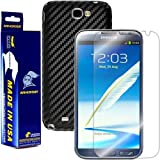 ArmorSuit MilitaryShield - Samsung Galaxy Note 2 Note II Screen Protector Shield + Black Carbon Fiber Film Protector & Lifetime Replacements