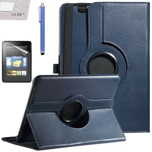"""Pandamimi Ulak 360 Degree Rotating Pu Leather Stand Case Cover For Amazon Kindle Fire Hd 8.9"""" Tablet With Auto Sleep-Wake Function(Navy Blue)"""