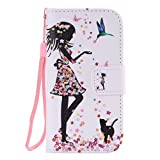 SZYT Phone Case for Samsung Galaxy S4 Mini, 4.3 inch, PU Leather Flip Cover with Handle, Floral Skirt Girl Black Cat
