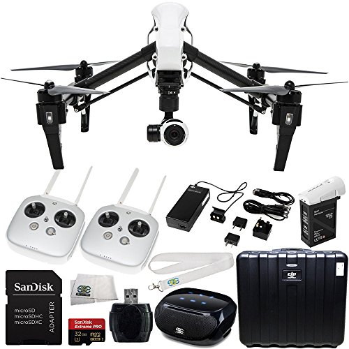 DJI Inspire 1 with Dual Remotes Starter Kit. Includes SanDisk Extreme PRO 32GB UHS-I/U3 Micro SDHC Memory Card (SDSDQXP-032G-G46A) + High Speed Memory Card Reader + SSE Transmitter Lanyard + Microfiber Cleaning Cloth + SSE FURY SPEAKER