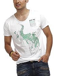 Chlorophile Men's V Neck Cotton T-Shirt (Stf_White_Small)