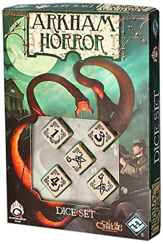 Beige And Black Arkham Horror Dice Set of 5