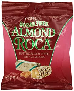 BROWN & HALEY Sugar Free Almond Roca, Buttercrunch Toffee Clip Strip, 3-Ounce Bags (Pack of 6)