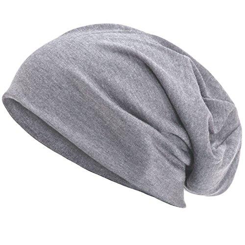 Compagno Slouch Beanie Mütze aus atmungsaktivem und weichem Jersey Unisex Mütze Chemo Chemomütze, Farbe:Hellgrau