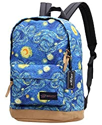 Iblue 17.7 Inch Unisex Waterproof Canvas Travel Backpack Practical Schoolbag #E8019 (L, 01 blue sky)