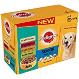 Pedigree Pouch Senior Dog Food Selection in Jelly 12 x 100g (Pack of 4, Total 48 pouches)