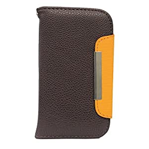 BRAIN FREEZER Z SERIES MAGNETIC HIGH QUALITY UNIVERSAL PHONE FLIP CASE COVER STAND FOR LG G3 A BROWN ORANGE