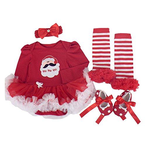 BabyPreg® Neonate mio primo Natale costume della Santa del partito del vestito 4PCS (M/6-9Mesi, Natale di Santa Manica lunga)