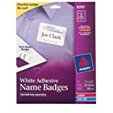 Avery Adhesive Flexible Name Badges, 2.33 x 3.375 inches, White, Pack of 160 (8395)