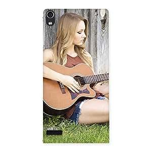 Cute Guitar Girl Multicolor Back Case Cover for Ascend P6