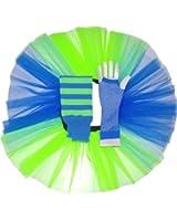 Girls 2 Colour Neon Tutu Skirt, Legwarmers & Fishnet Gloves Age 4 to 12