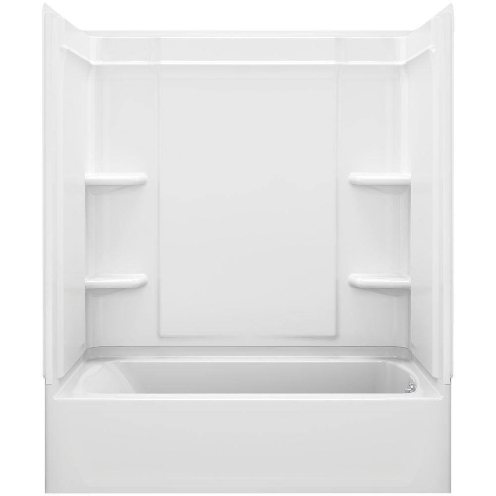 Ensemble Medley 60 in. x 31.25 in. x 77 in. 4-piece Tongue and Groove Tub Wall in White 2pcs tongue