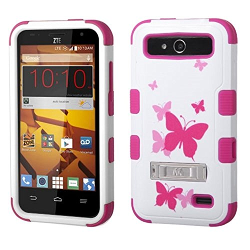 MyBat TUFF Hybrid Protector Cover with Stand for ZTE N9130 Speed - Retail Packaging - Butterfly Dancing/Hot Pink