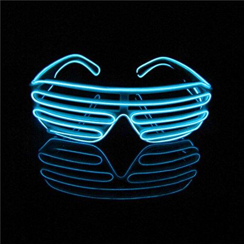Lerway Neon El Wire LED Light Up Shutter Glasses + Standard Controller (Light Blue)