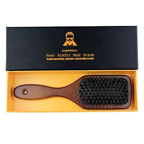 BROSSE--CHEVEUX-PLATE-EN-SOIE-DE-SANGLIER-NATURELLE-Utilise-par-les-coiffeurs-professionnels