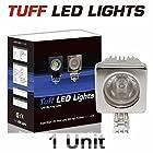 Tuff LED Lights CHROME 2 Inch Square SPOT 10 Watt Linkable LED Work Light 950 Lumens - Atv, Utv, Off Road Jeep 4x4 E Series Polaris Razor, Yamaha Rhino