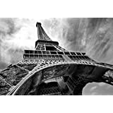 Eiffel Tower Paris Black & White Wallpaper Mural