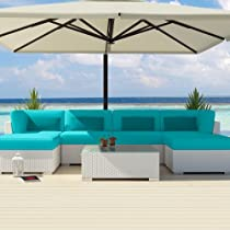 Hot Sale Uduka Outdoor Sectional Patio Furniture White Wicker Sofa Set Diani Turquoise All Weather Couch
